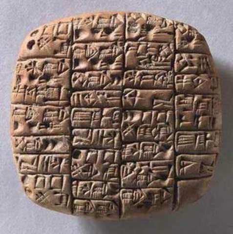 Los babilonios con las tablillas de arcilla