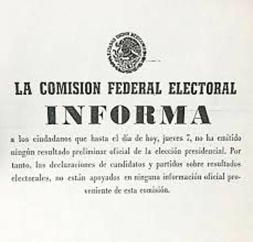 Se aprueba la creación de la Comisión Federal Electoral.