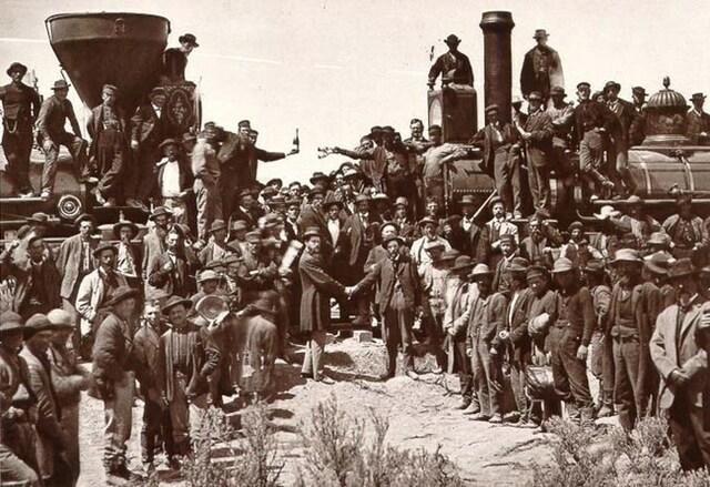 Congress guarantees the construction of a transcontinental railroad.
