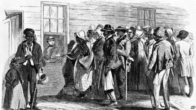 Congress sets up the Freedmen's Bureau.