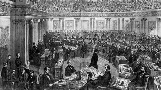 Congress impeaches President Andrew Johnson; the Senate fails to convict him.