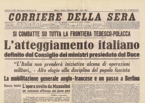 """L'Italia annuncia la """"non belligeranza"""" - decide temporaneamente di non combattere"""
