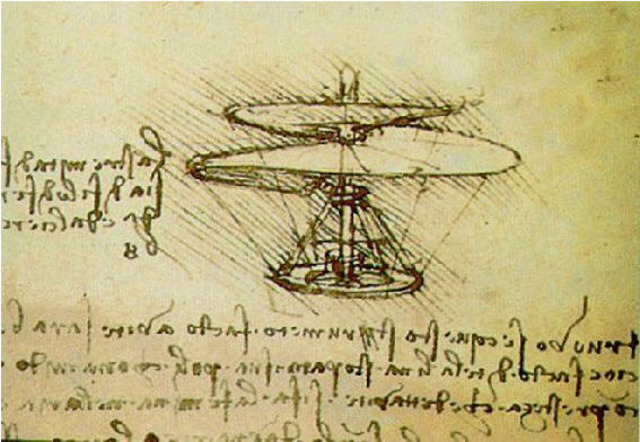 Leonardo da Vinci: Drawings by Leonardo da Vinci depict inventions such as flying machines, including a helicopter, the first mechanical calculator and one of the first programmable robots