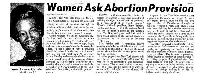 Chisholm supports similar (Sutton) abortion bill in state of NY, 1967