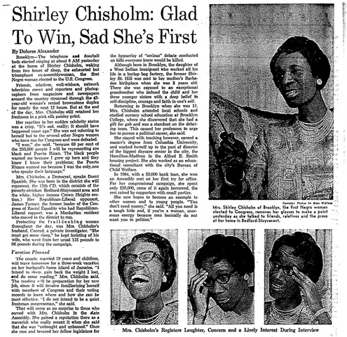 Shirley Chisholm first Black Woman elected to Congress