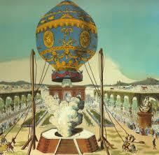 Montgolfier brothers fly their hot air balloon