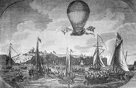 Blanchard and Jeffries fly over the English Channel