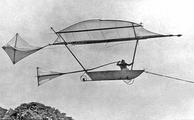First man to fly on a glider