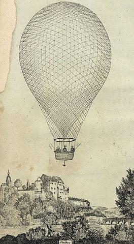 Green realices the first balloon international flight