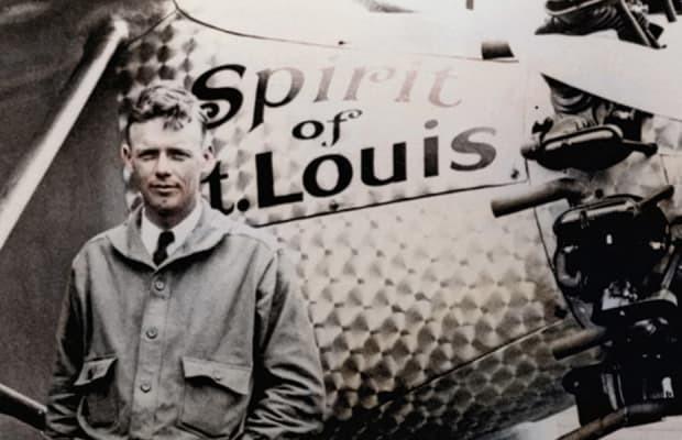Lindbergh's flight over the ocean