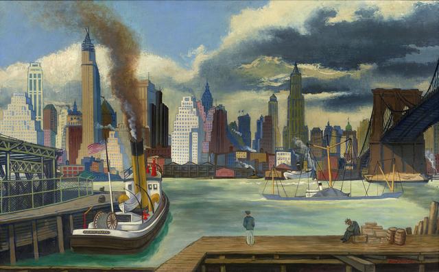 """""""Waterfront, Lower Manhattan"""". de Ernest Fiene."""