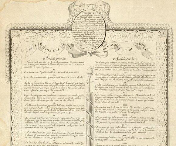 Frantziako Iraultza.Gizakiaren eta hiritarrearen eskubideen adierazpena egiten dute, AEBkoa eredu hartuta.