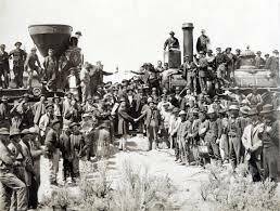 First transcontinental railroad is completed at Promontory, Utah.
