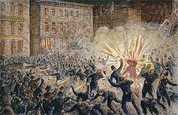 In the Haymarket incident, a bomb set off at a Chicago labor rally kills and wounds police officers.