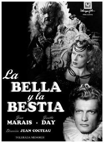"""""""La bella y la bestia"""" (película).Dirigida por Jean Cocteau."""