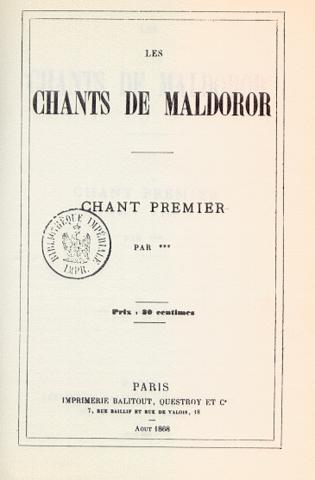 Los cantos de Maldoror. Isidore Ducasse. (Conde de Lautréamont).