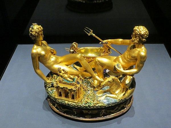 Salero de Francisco I de Francia. por Benvenutto Cellini.