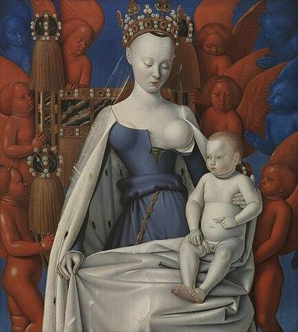 """""""La virgen con el niño"""" de Jean Fouquet."""