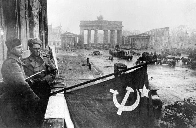 Soviet troops arrive in Berlin and Germany surrenders