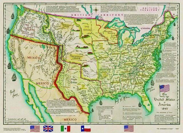 Independencia de Texas que se anexa al territorio estadounidense