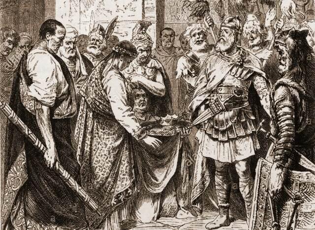Abdicación de Rómulo Augústulo en Odoacro
