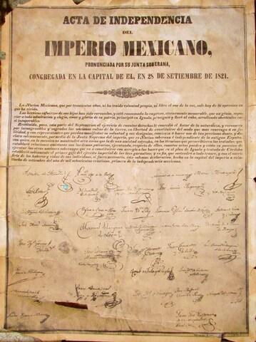 Al firmarse el acta de Independencia de México