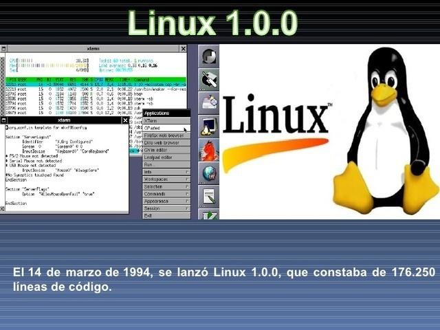 la versión 1.0 de Linux.