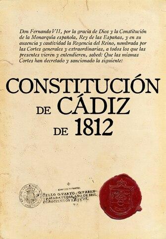 Aprobación de la Constitución de Cadiz.
