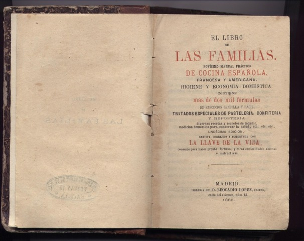 """Libro culinario """"El cocinero de las familias"""""""