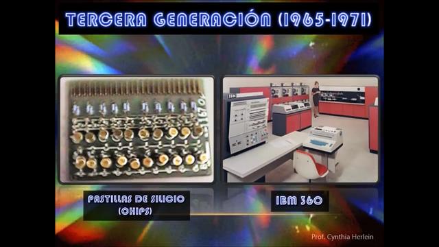 Tercera generación 1965-1971 La tercera generación con el desarrollo de  circuitos integrados se pueden colocar miles de componentes electrónicos en una integración en miniatura, las computadoras se hicieron más pequeñas, rápidas y eficientes.