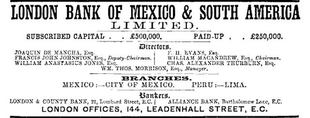 The Bank of London, Mexico and South America
