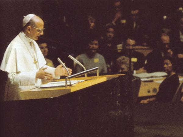 Papa Paolo VI parla all'ONU