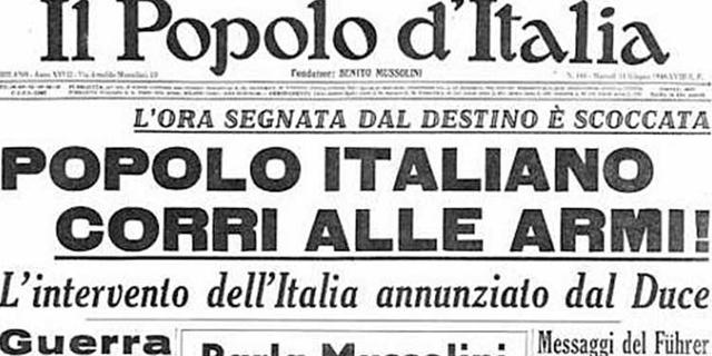 Mussolini dichiara guerra alla Francia