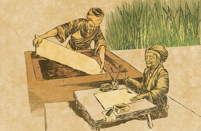 Invención del papel y forma primitiva de la imprenta