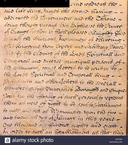 Bill of Rights o Declaración Universal de los Derechos Ingleses (Inglaterra).