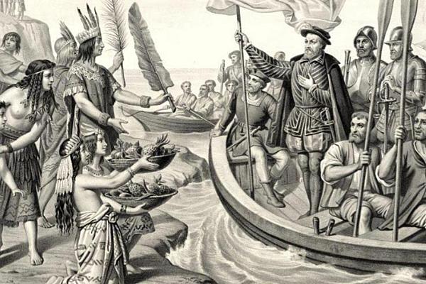 Hernán al frente de la expedición