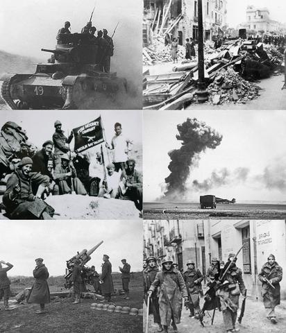 Década de 1940 distribución de municiones y artillería.