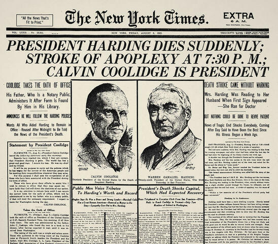 President Harding dies and Coolidge becomes President