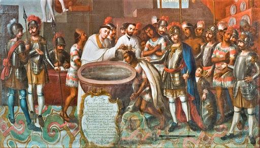 La evangelización como una justificación de la misma de la conquista Tenochtitlán.