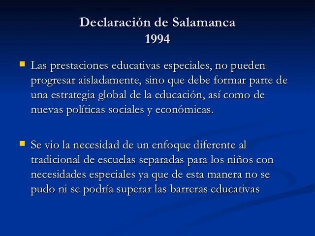 Declaración de Salamanca inclusión e integración