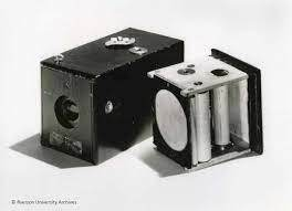 George Eastman invents flexible, paper-based photographic film.