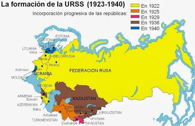 Se creó la Unión de Repúblicas Socialistas Soviéticas (URSS)