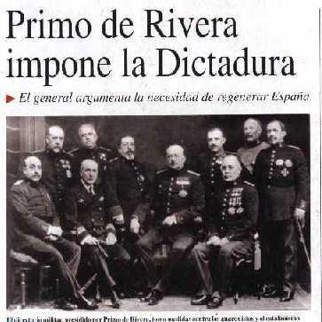 GOLPE DE  ESTADO Y DICTADURA DE PRIMO DE RIVERA