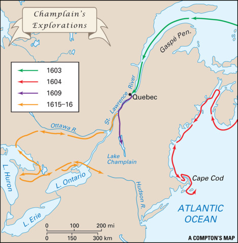 Champlain Arrives in North America