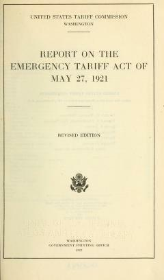 The Emergency Tariff Act of 1921