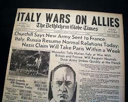Italy enters World War Two.