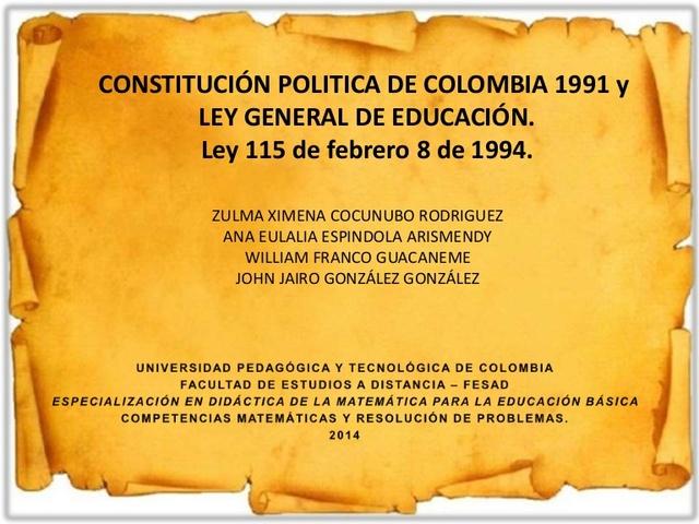 Constitución de 1991 y la Ley General de Educación de 1994