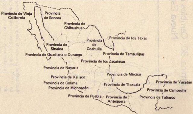 División territorial de Nueva España por provincias.