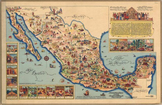 Mapa pictórico de México.