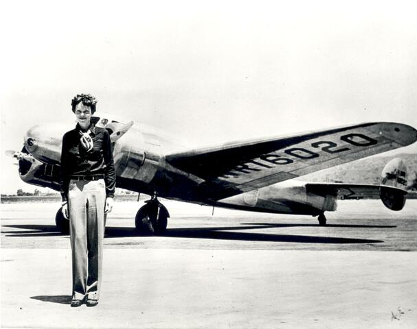 Amelia Earhart flying across the Atlantic